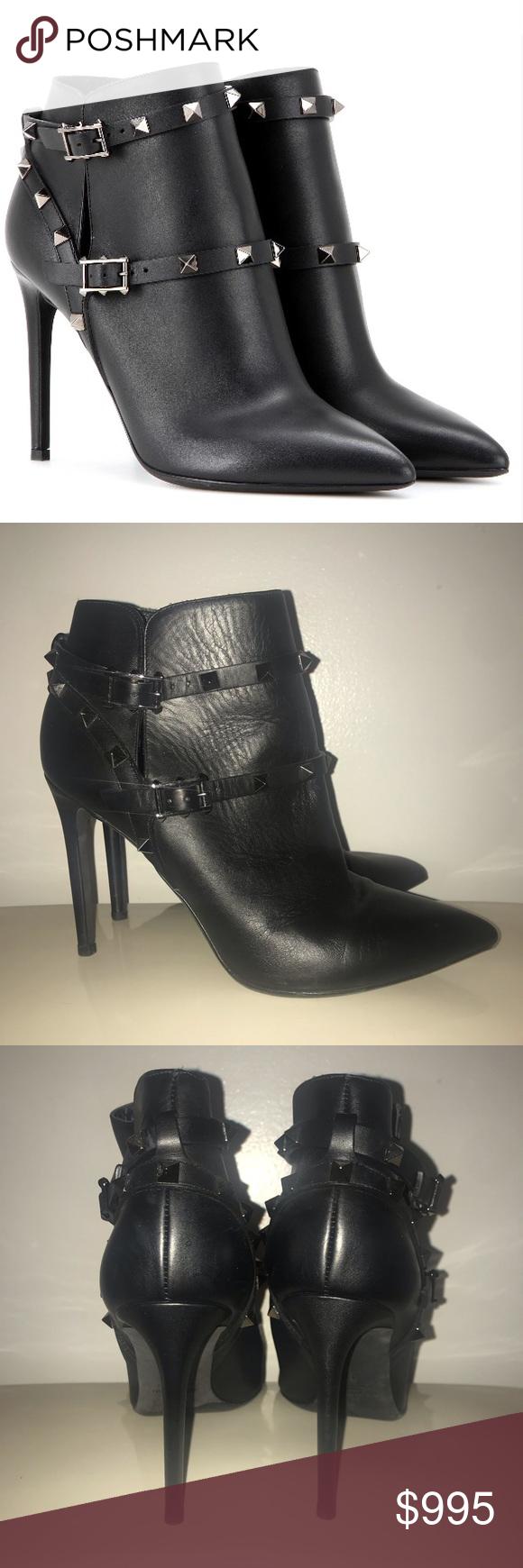 94f8292629453 🎉HOST PICK🎉 Valentino Rockstud Noir Ankle Boots Valentino Rockstud Noir  Black Leather Ankle Booties