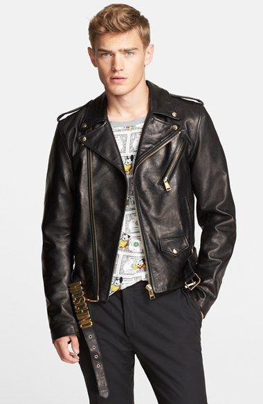 128343b7f Men's Moschino Leather Moto Jacket, Size 50 EU   Big Bad Leather ...
