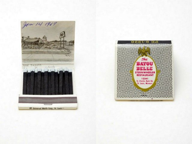 Small graphite drawings on matchbooks by Krista Charles.
