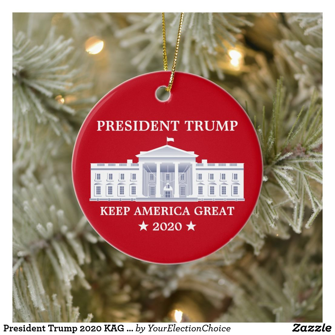 2020 White House Christmas In Red President Trump 2020 KAG Red Ceramic Ornament | Zazzle.| White
