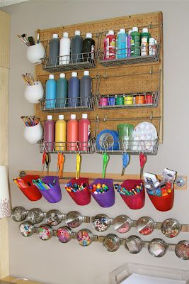 Craft Storage..#craftroom #craftstorage WOAAH!! I wish I had a spare wall to set this up for the kids! & Our New Art Room!! | Craft storage Storage and Craft