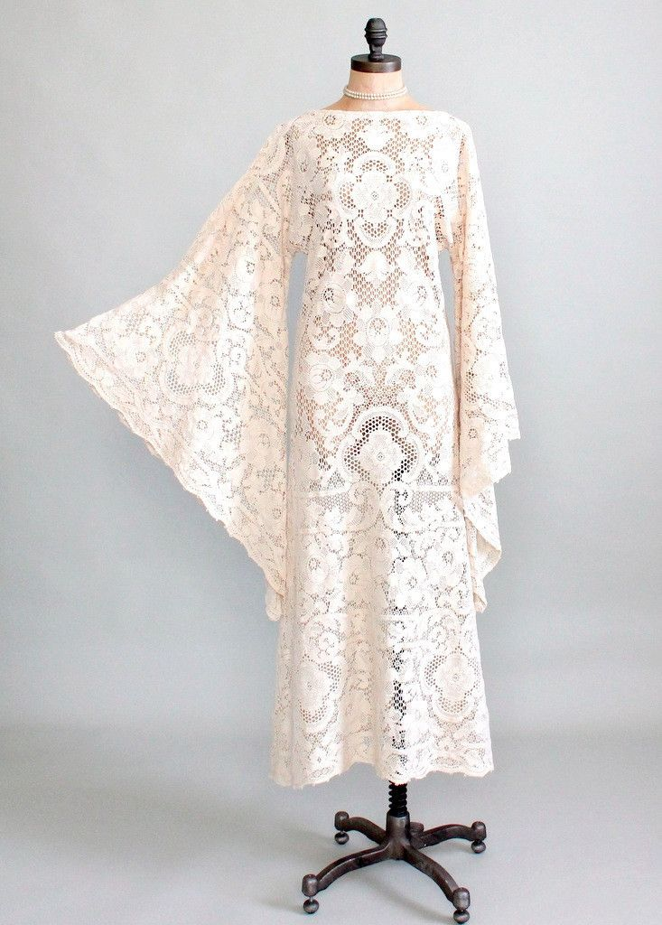 Vintage early 1970s quaker lace wedding dress cotton for Angel wings wedding dress