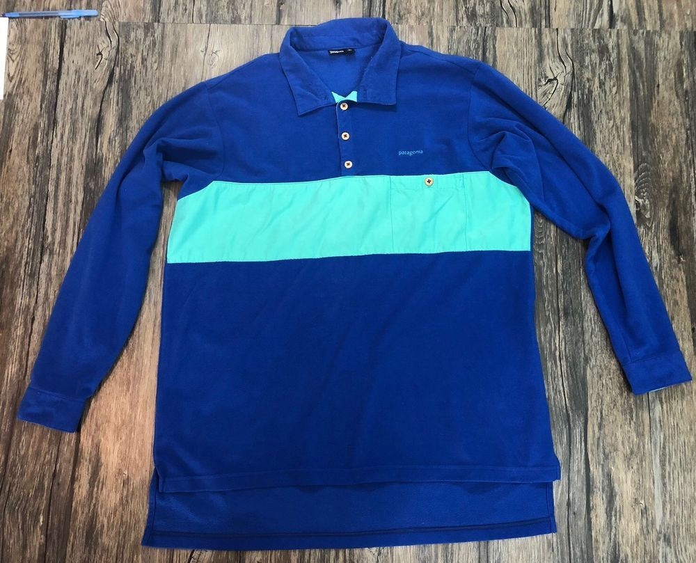 713e74d3cf4 Patagonia 1 4 Button Pullover Fleece Blue Aqua Size Large Mens 63Q   Patagonia  14Button