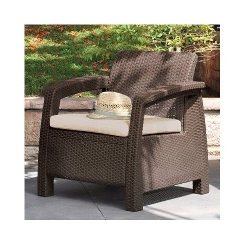 Wicker Patio Chair Outdoor Furniture Resin Rattan Deck Garden Cushion Seating