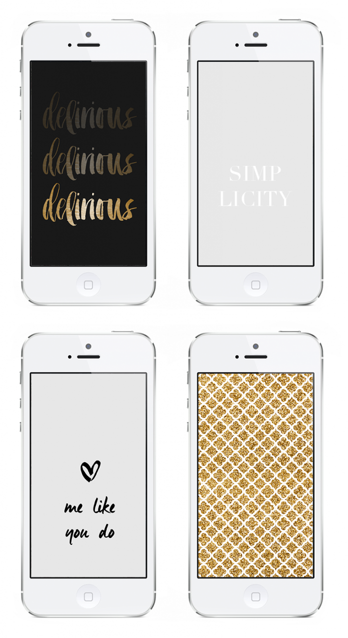 Freebie Friday :: 4 mobilbakgrunder iPhone wallpapers delirious simplicity gold glitter love me like you do