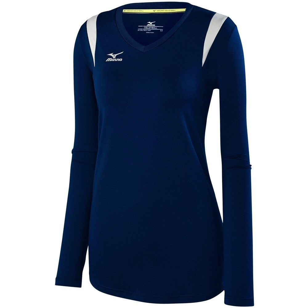 Mizuno Women S Balboa 5 0 Long Sleeve Volleyball Jersey Womens Size Extra Extra Large In Color Navy Silver 5173 In 2020 With Images Volleyball Jerseys Street Style Women Volleyball Outfits