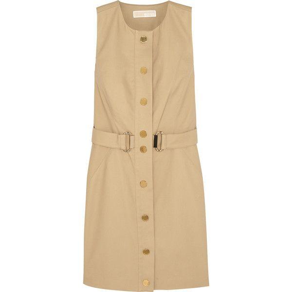 MICHAEL Michael Kors Stretch-cotton poplin mini dress ($125) ❤ liked on Polyvore featuring dresses, beige, beige dress, slimming dresses, petite short dresses, cotton stretch dress and michael michael kors
