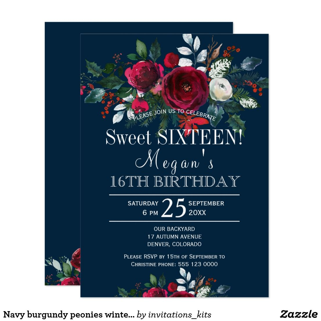 Navy Burgundy Peonies Winter Floral Sweet Sixteen Card Sweet - Sweet 16 party invitation templates