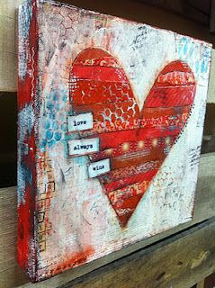 Mixed Media Heart Art Canvas Valentines Art Art Projects