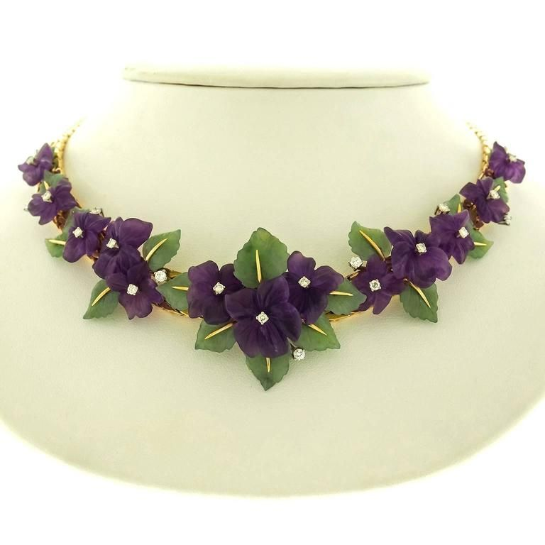 1950s Fabulous Jade Leaf Amethyst Gold Flower Necklace 2