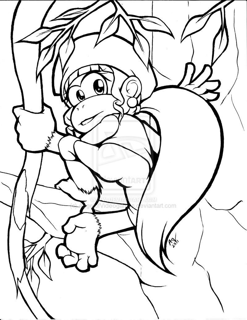 Dixie Kong Inks By Angelofvideogames On Deviantart Coloring Pages Donkey Kong Kong