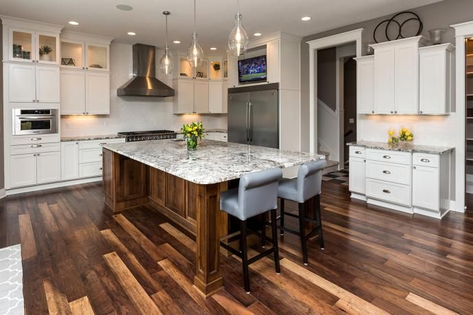 Walnut Flooring Painted White Cabinets Stained Island Tv Niche Above Fridge Professional