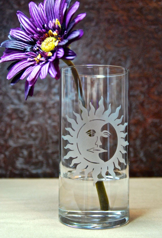 7 5 Inch Glass Etched Sugar Skull Vase Design 2 Home Kitchen Kolenik Home Décor