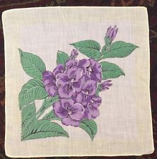Great Floral Hankie Purple Flowers With Pale Yellow Border, Hand Rolled Edge