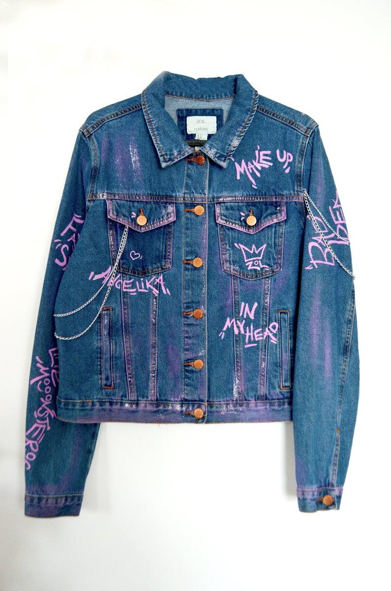 Ariana Grande Painted Denim Jacket Women Ariana Grande Mask Ariana Grande Jacket Custom Jean Jacket Personalizable Jean Diy Denim Jacket Custom Denim Painted Denim Jacket [ 1199 x 794 Pixel ]