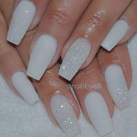 White Matte Nails with Diamond Glitter: | Nails: Colors + Design ...