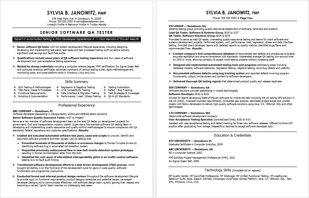 Experienced Qa Software Tester Resume Sample Basic Resume Sample Resume Templates Job Resume Samples