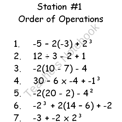Stations include order of operations, combine like terms