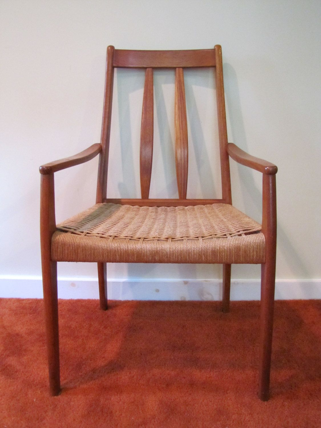 Danish Modern Style Rope Chair Mid Century Arm Woven Seat Side Dining Room Captains
