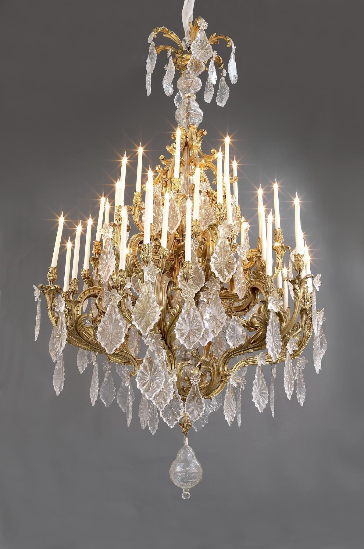 A monumental louis xv style gilt bronze and cut glass forty eight a monumental louis xv style gilt bronze and cut glass forty eight light chandelier arubaitofo Image collections