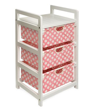 Take a look at this Pink Polka Dot Three-Drawer Hamper & Storage Unit by Badger Basket on #zulily today!
