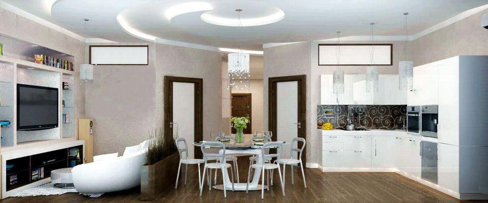 Дизайн кухни-гостиной в современном стиле фото