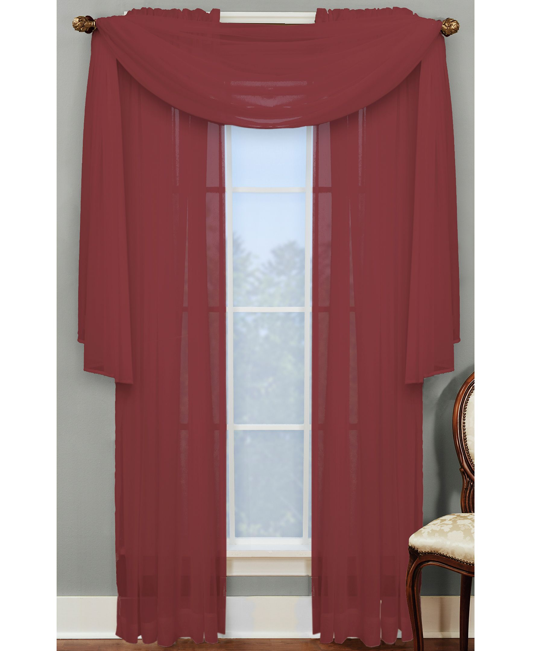 Miller Curtains Sheer Angelica Volie 56 X 216 Scarf Valance