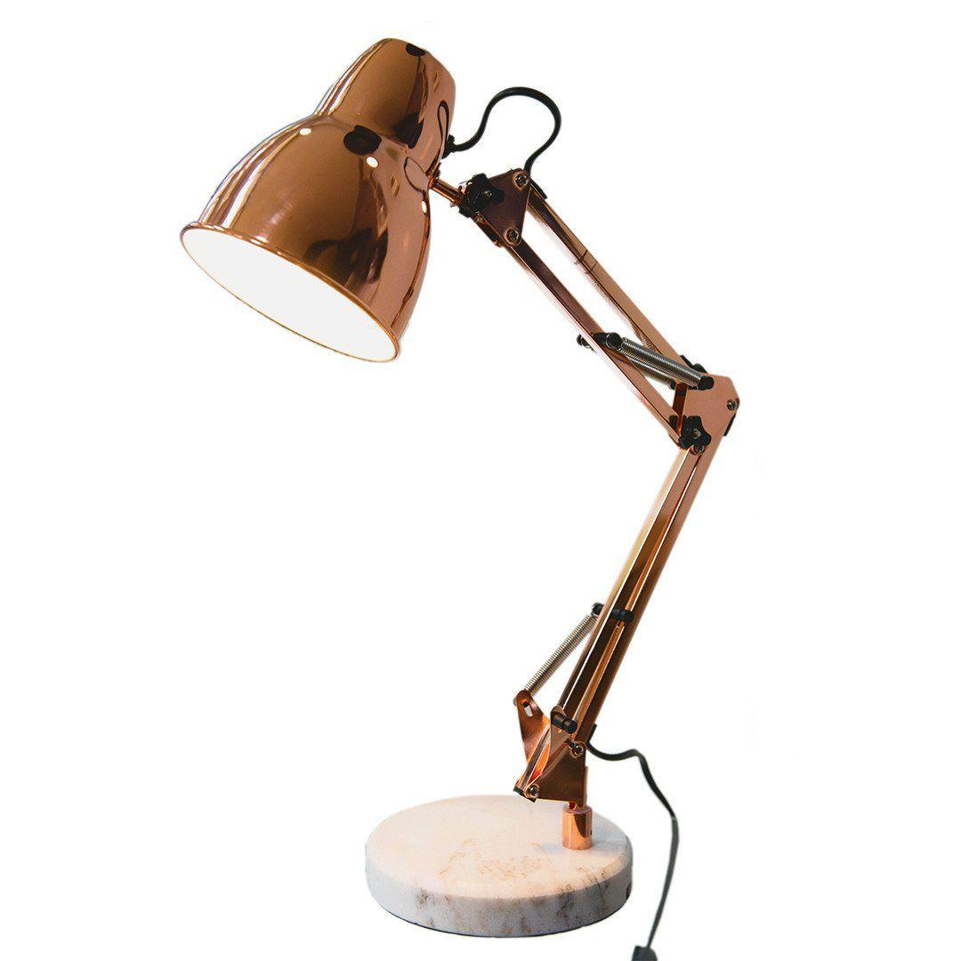 Elgin Desk Lamp Rose Gold Desk lamp, Adjustable floor
