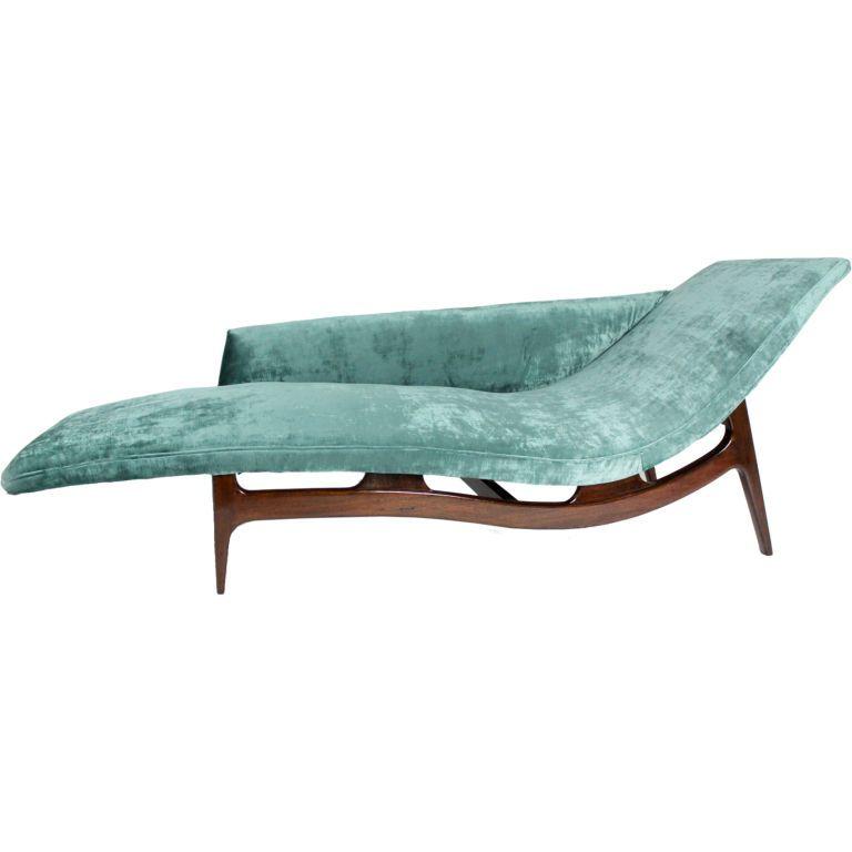 Mahogany Chaise Longue In Turquoise Silk Velvet   Edward wormley ...