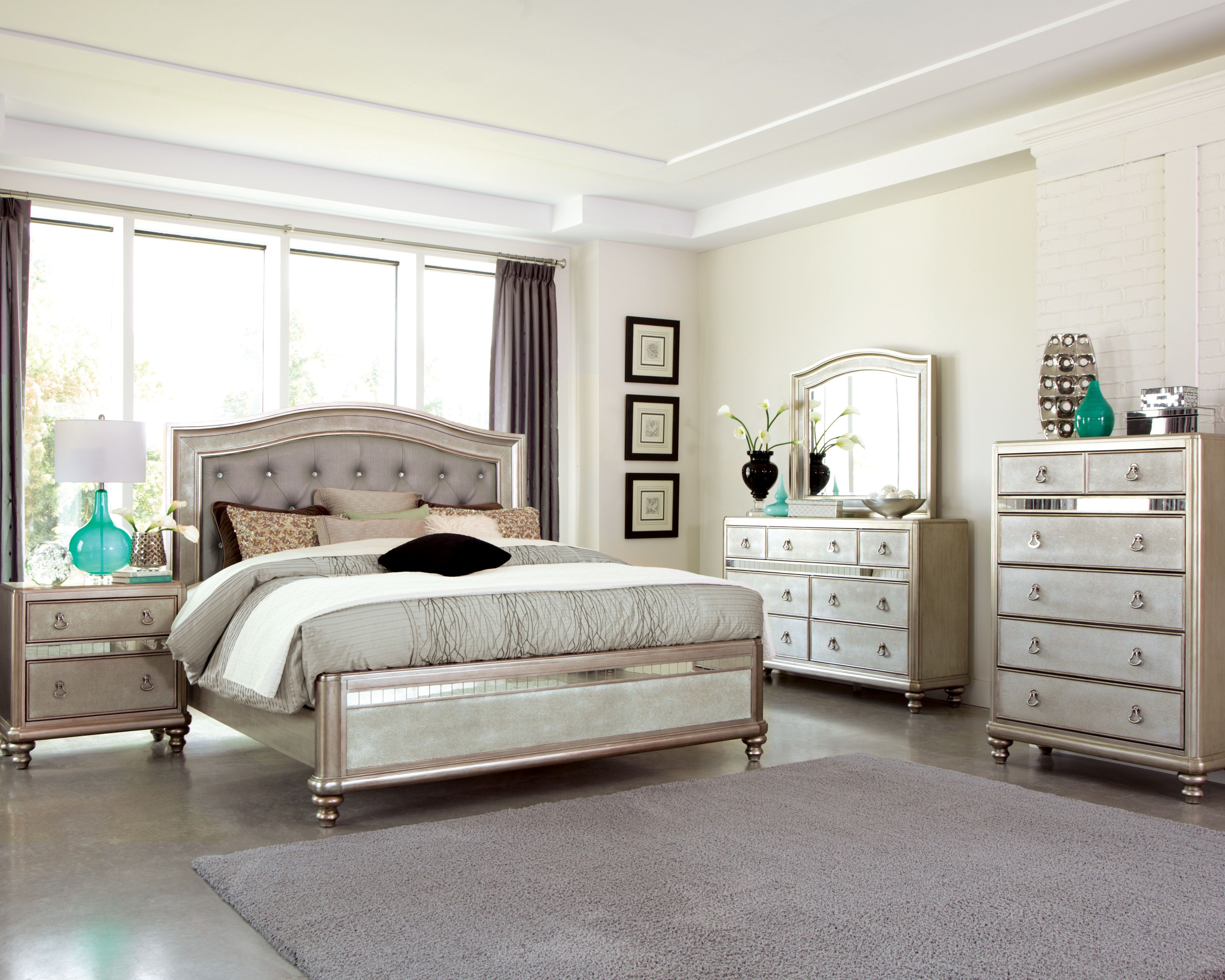 metallic finish bedroom furniture - Glam Bedroom Furniture