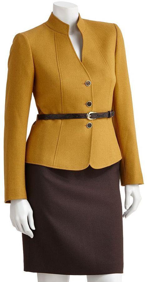 Studio Tahari Levine Co Herringbone Suit Jacket Skirt Set