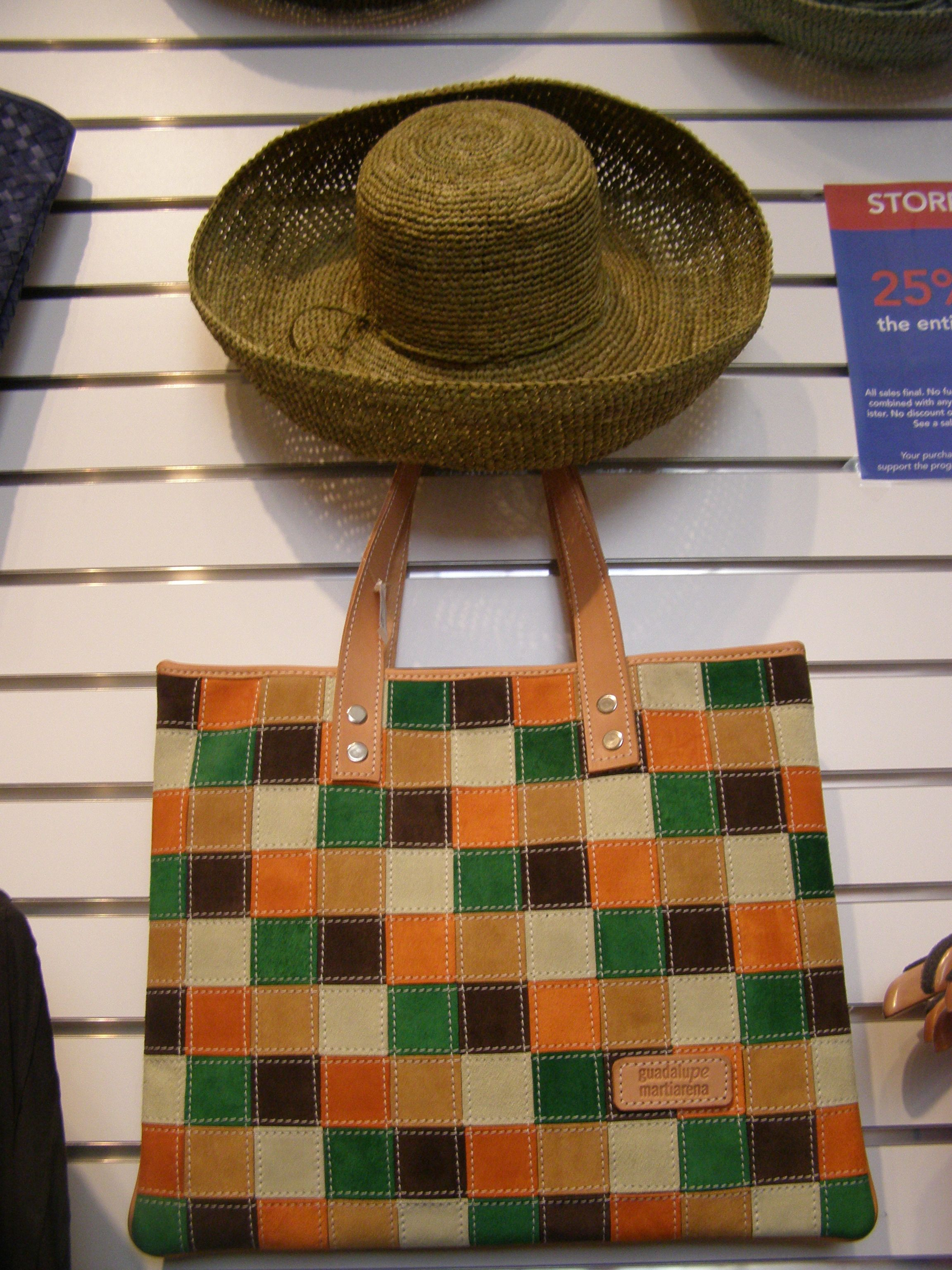 Suede checker board tote.