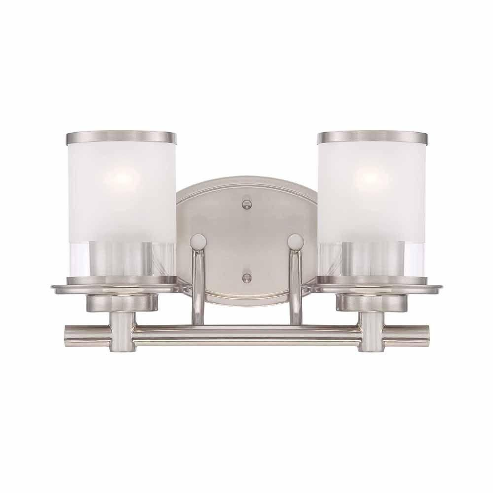 Hampton Bay 2 Light Brushed Nickel Bath Bar Light With Clear And