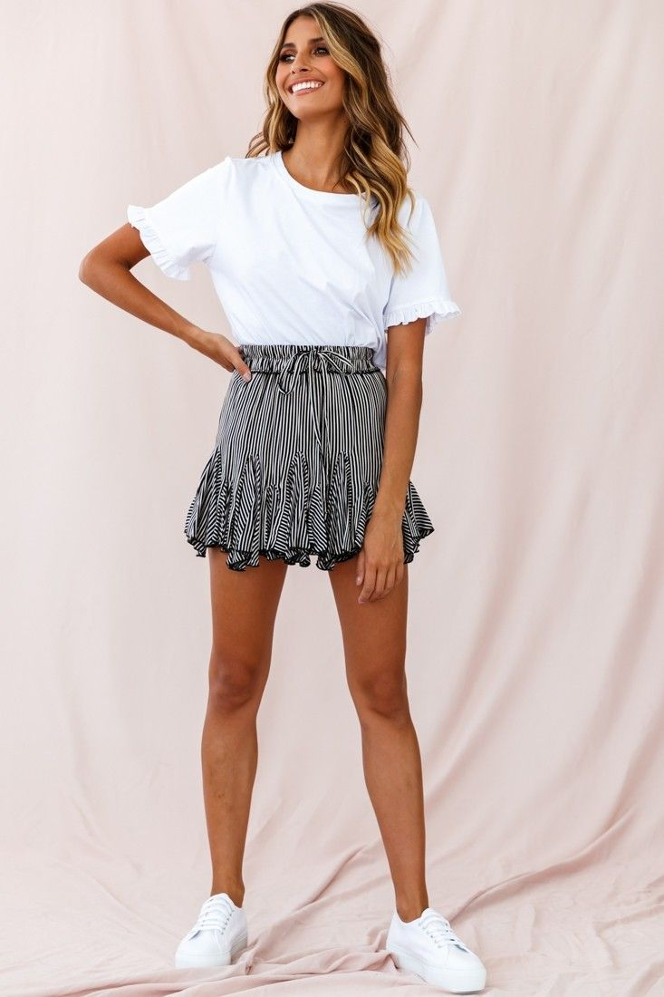 Robyn Pleated Striped Mini Skirt Black