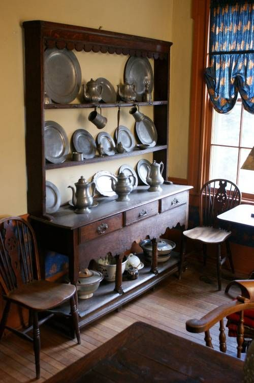 Antique pewter  (Build shelf part for hallway and display pewter as backdrop to prim vignette?)