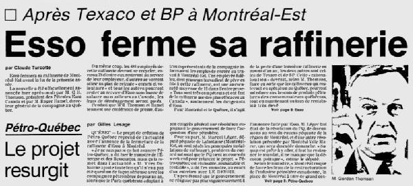 3 mars 1983 Esso annonce la fermeture de sa raffinerie de #Montréal-Est #économie https://t.co/gSvOFXXHn8 https://t.co/WFzPJUHm1k