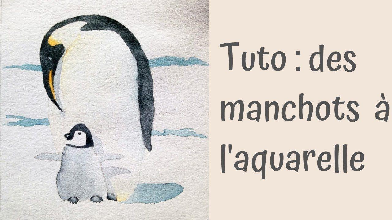 Tuto Aquarelle Facile Des Manchots Sur La Banquise Aquarelle