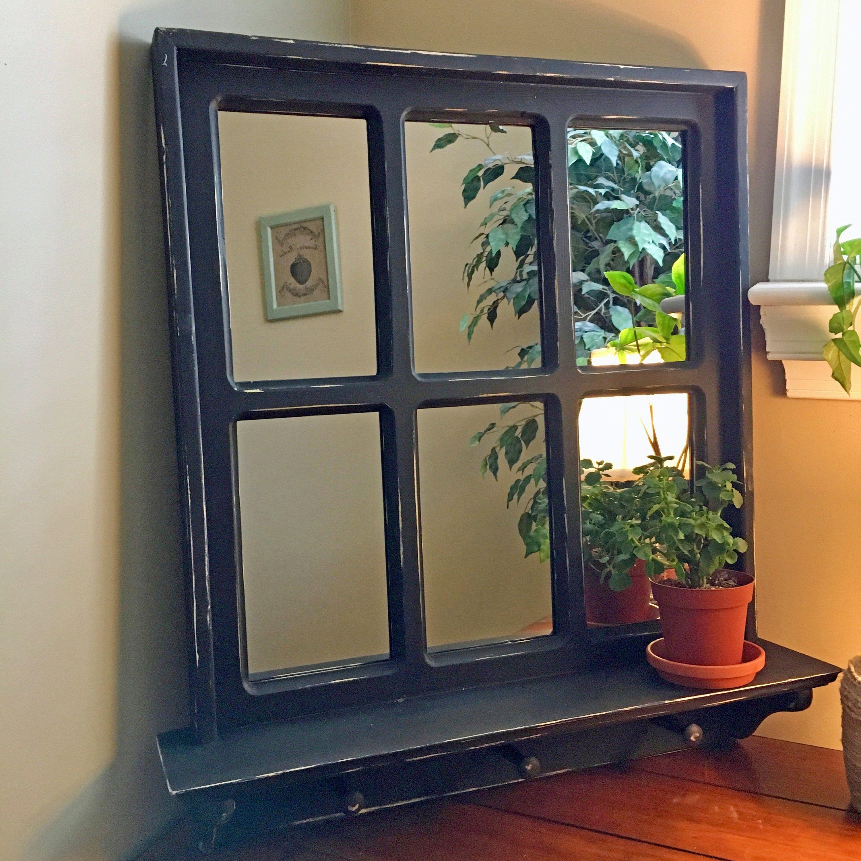 Large Farmhouse Window Pane Mirror Living Room Mirror Black Mirror Window Wall Mirror Mirrored Window Large Wall Mirror Window In 2020 Rustic Wall Mirrors Window Pane Mirror Rustic Mirrors