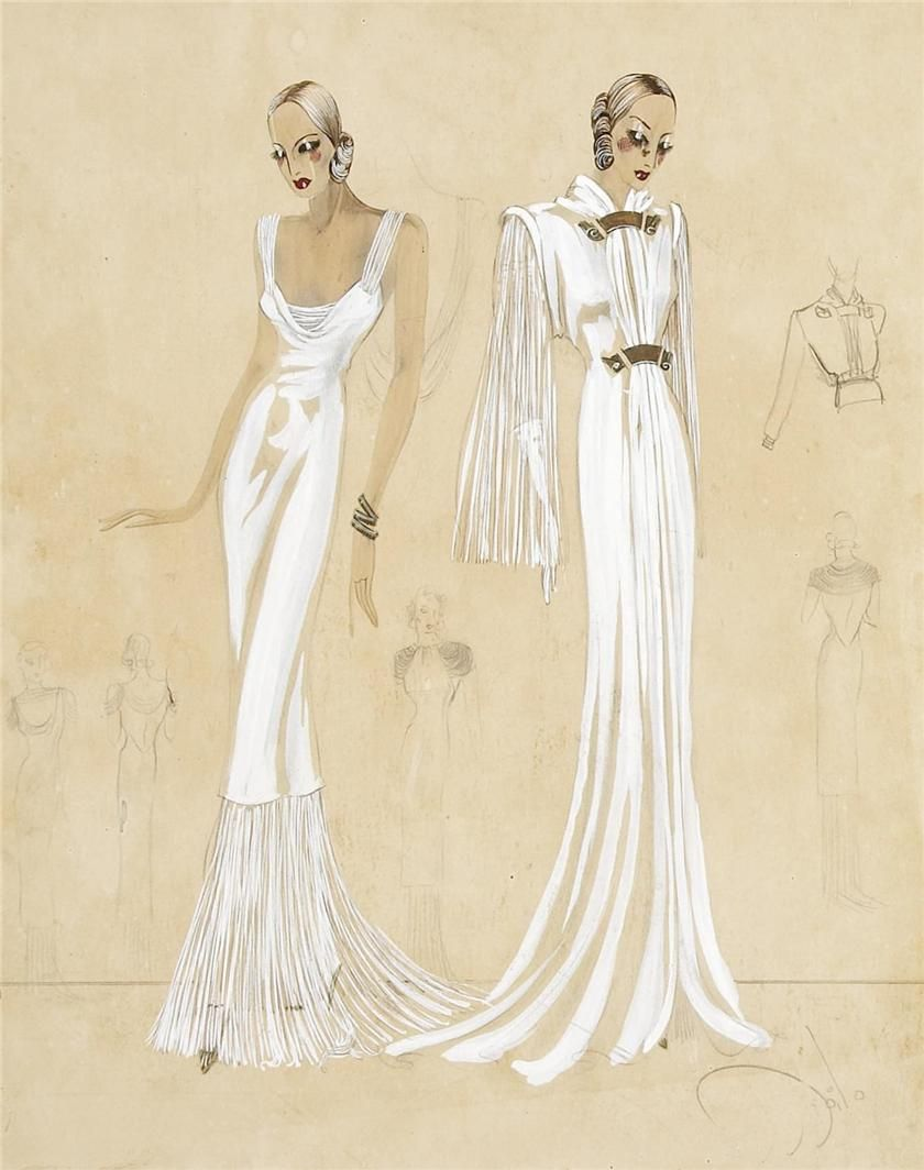 costume sketches of evening gowns for an unspecified production ...