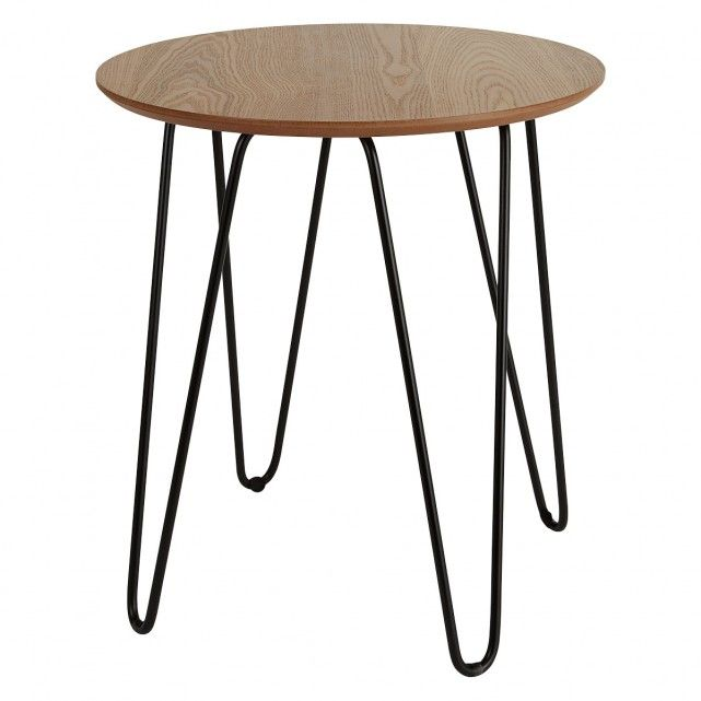 Tyler Round Ash And Black Metal Side Table In 2019 Home