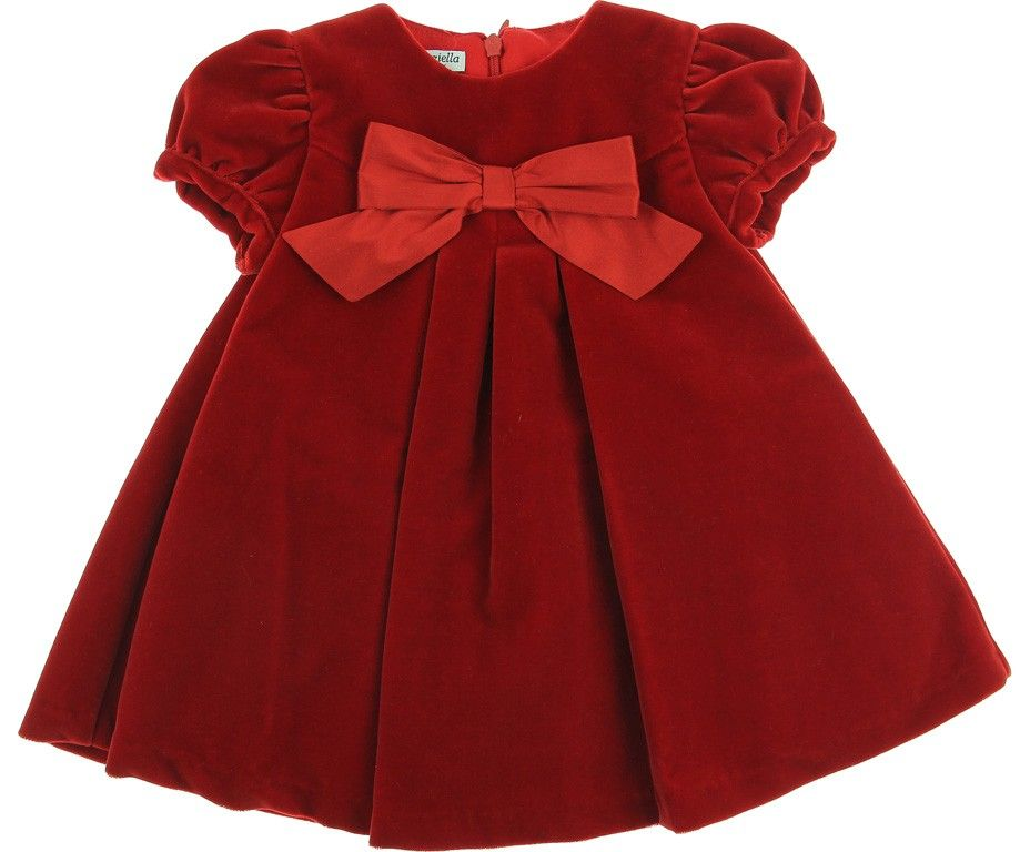 Graziella Baby Girls Red Velvet Dress With Bow Girl