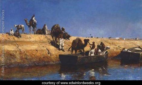 Un embarquement de chameaux sur la plage de Sale, Maroc - Edwin Lord Weeks - www.edwinlordweeks.org