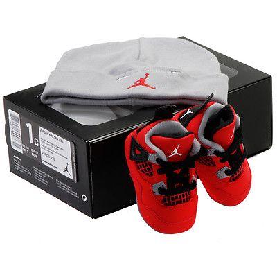 NIKE JORDAN 4 RETRO (GP) CRIB 487219-603 Babies Shoes Sneakers RED ...