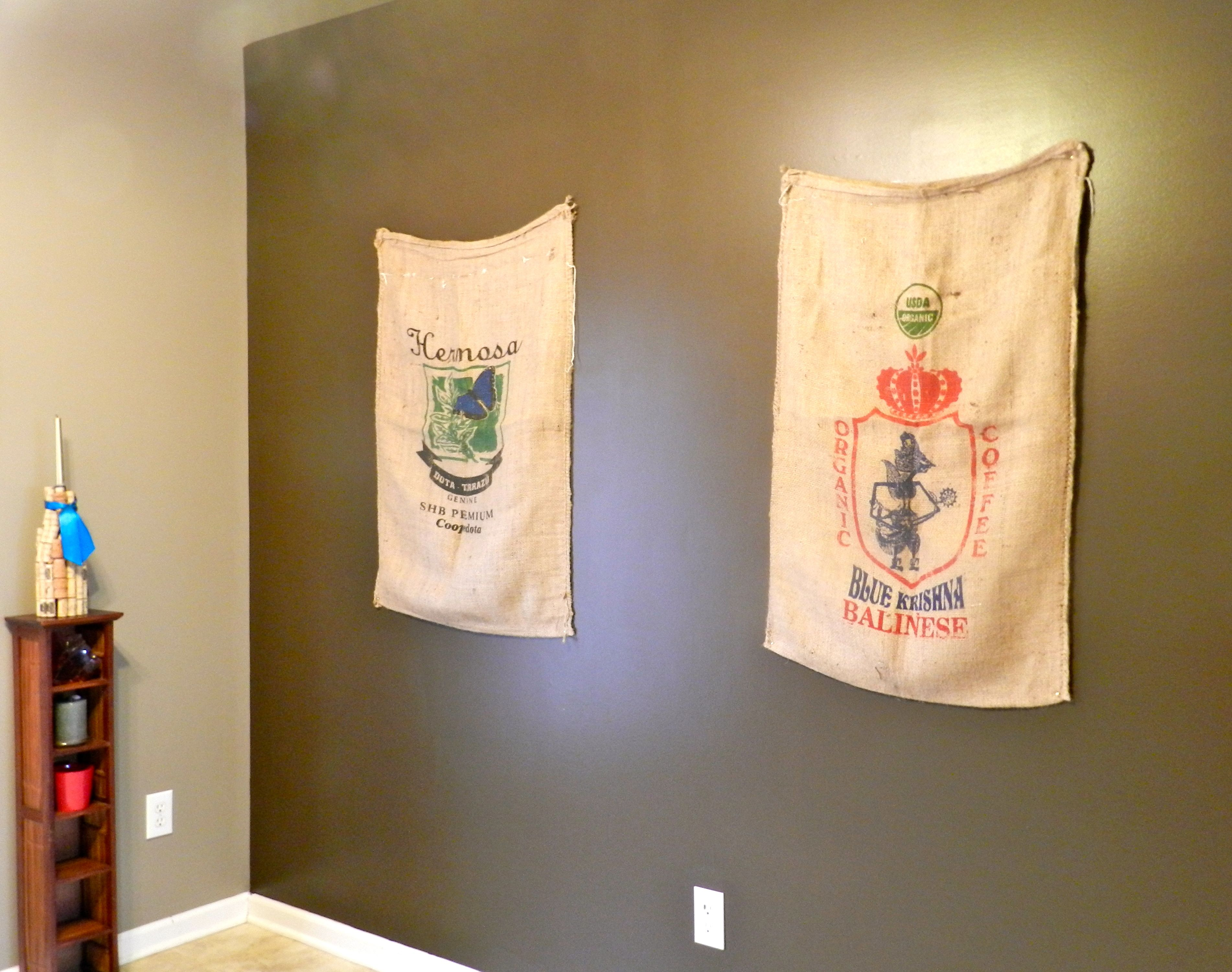 We got these coffee bags in north Florida on our honeymoon. They are hanging in the kitchen. I love this style!