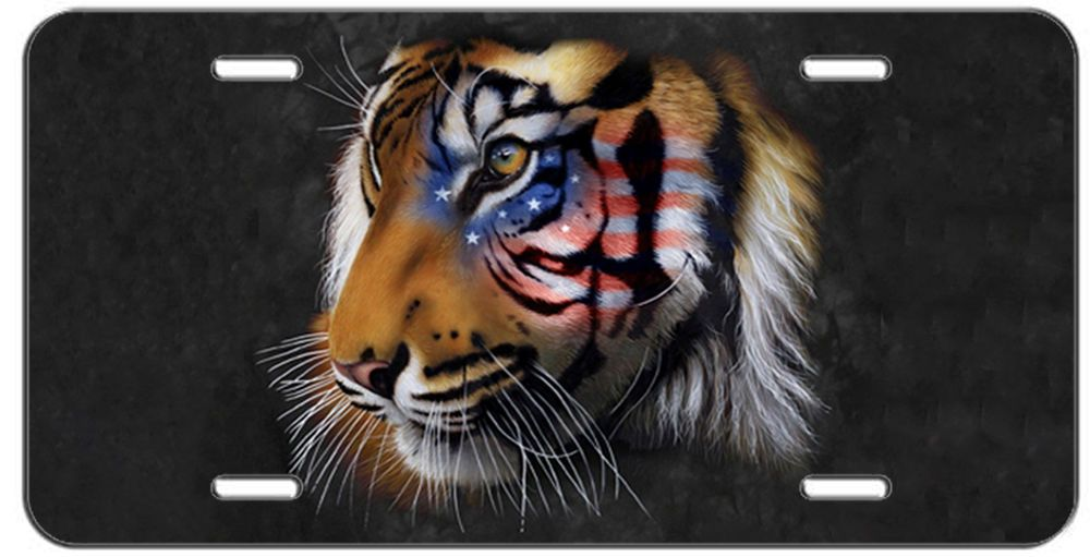 Details about patriotic license plate american flag tiger