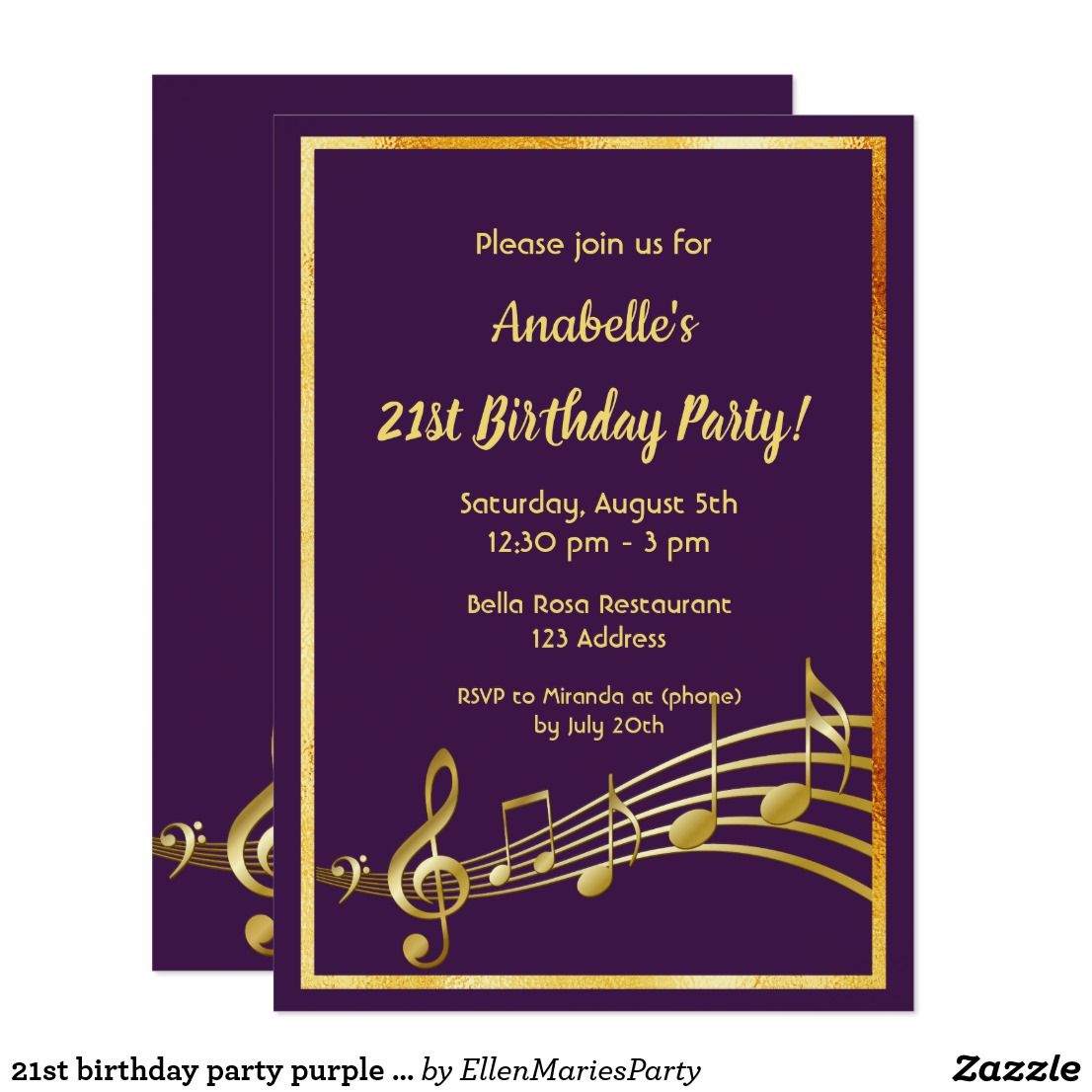 21st Birthday Party Purple And Gold Mustic Notes Card 21st