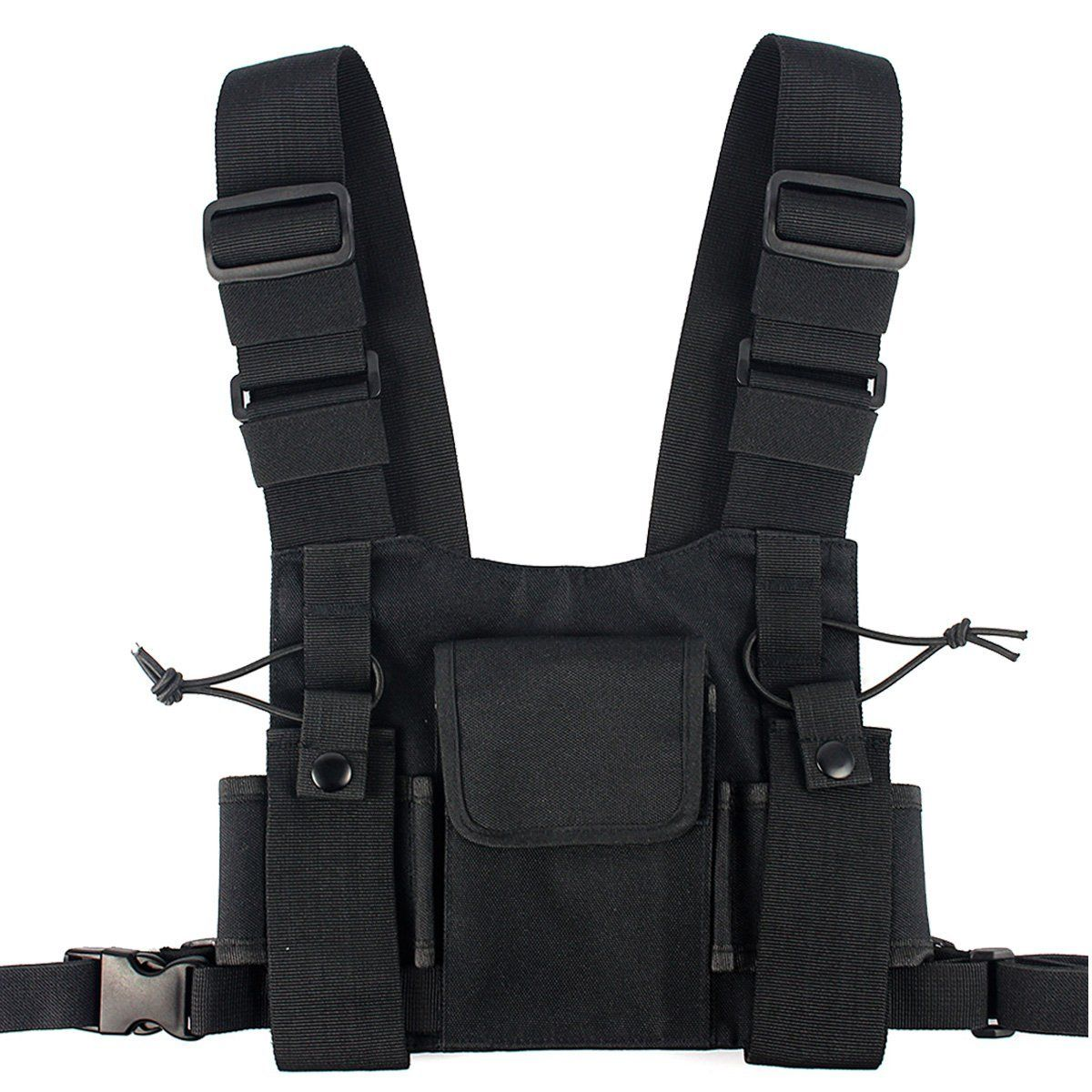 1x Tactical Harness Chest Rig Bag Women Hip-Hop Radio W//Two Pockets Fanny Pack