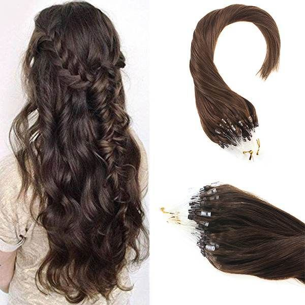 Pre Bonded Micro Ring Dark Brown Human Hair Extensions 4 Sunny
