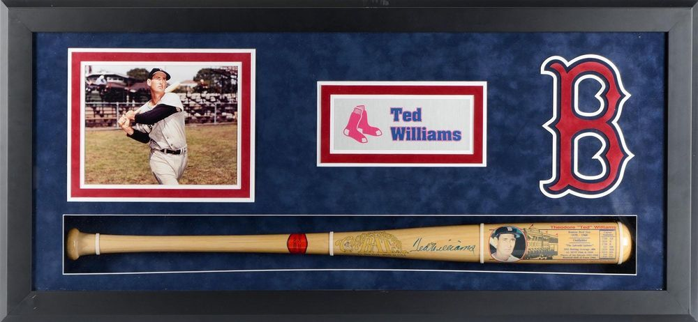 Ted Williams Mlb Boston Red Sox Framed Bat Shadowbox Signed Jsa Coa Ted Williams Mlb Bat Boston Red Sox