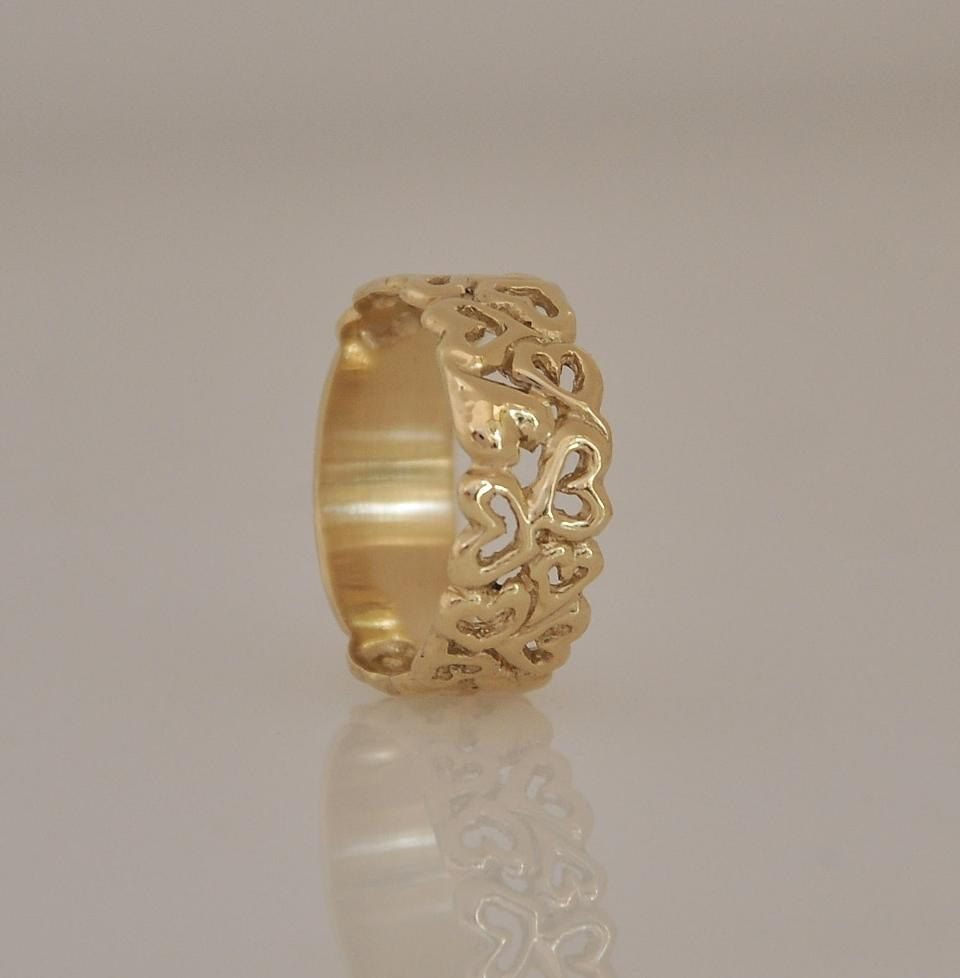 wide bands motif handcrafted men flower of yellow gold patterned floral band media s life thick wedding